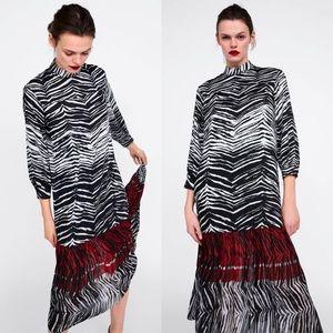 ZARA ANIMAL ZEBRA PRINT FLOATY CONTRAST DRESS